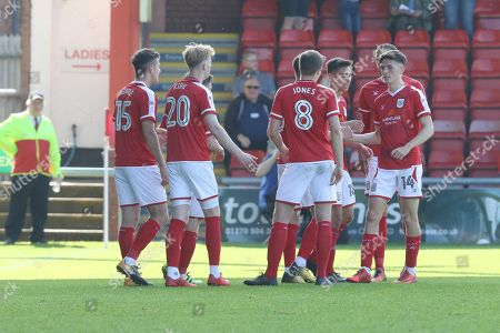 Crewe celebrate Shaun Miller's 2nd goal during the EFL Sky Bet League 2 match between Crewe Alexandra and Cheltenham Town at Alexandra Stadium, Crewe. Picture by Antony Thompson