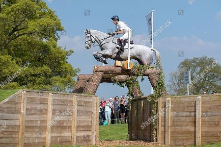 Harry Meade (GBR) on Away Cruising at Fence 21 The National Star Trakehner, during the Cross Country Phase. The 2018 Mitsubishi Motors Badminton Horse Trials,  Badminton, Gloucestershire, UK, 5th May 2018.