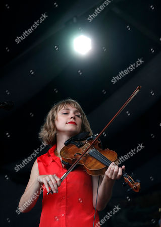 Violinist Kelli Jones of the Louisiana neuvo-Cajun band Feufollet performs at the New Orleans Jazz & Heritage Festival in New Orleans