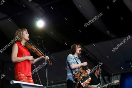 Violinist Kelli Jones and accordionist Chris Stafford of the Louisiana neuvo-cajun band Feufollet perform at the New Orleans Jazz & Heritage Festival in New Orleans