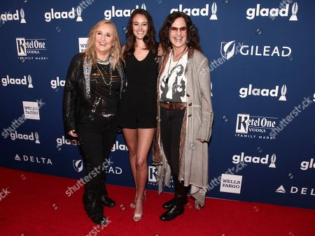 Melissa Etheridge, Bailey Jean Cypher, Linda Wallem. Melissa Etheridge, from left, Bailey Jean Cypher and Linda Wallem attend the 29th Annual GLAAD Media Awards at the New York Hilton, in New York