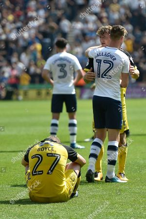 Burton Albion striker Liam Boyce (27) dejected at full-time as Burton Albion are relegated to League One during the EFL Sky Bet Championship match between Preston North End and Burton Albion at Deepdale, Preston. Picture by Richard Holmes