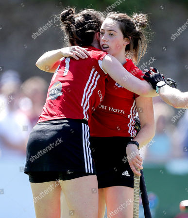 Loreto Hockey Club vs Cork Harlequins. Harlequins' Michelle Barry and Rebecca Barry celebrate after a goal