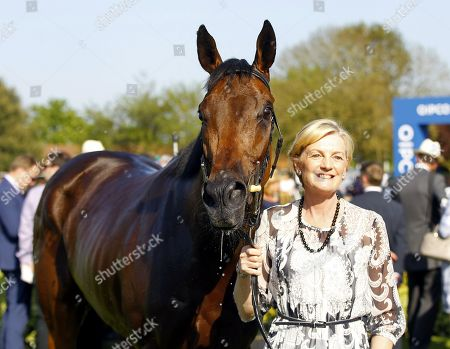 Lady Lloyd Webber with Lah Ti Dar after victory in the Tweenhills Pretty Polly Stakes at Newmarket.