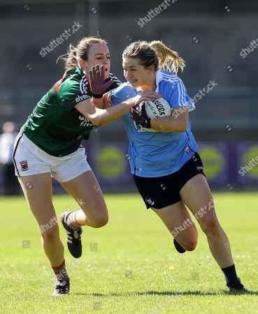 Dublin vs Mayo. Dublin's Martha Byrne tackled by Clodagh McManamon of Mayo