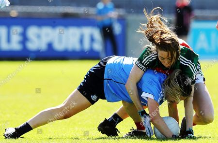 Dublin vs Mayo. Dublin's Martha Byrne tackled by Sarah Tierney of Mayo