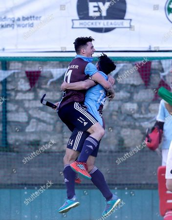 Glenanne vs Three Rock Rovers. Rovers? Ben Walker and Daragh Walsh celebrate after the final whistle
