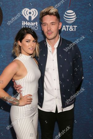 Cassadee Pope, Sam Palladio. Cassadee Pope, left, and Sam Palladio arrive at the iHeartCountry Festival at the Frank Erwin Center, in Austin, Texas