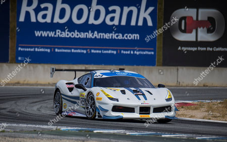 Stock Photo of Monterey, CA, U.S.A.# 123 John Megrue coming out of turn 11 during the Ferrari Challenge FerrariI Coppa Shell race 1 at WeatherTech Raceway Laguna Seca Monterey, CA Thurman James / CSM