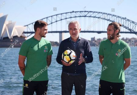 Bert van Marwijk, Joshua Brillante, Josh Risdon. Australia's national soccer team head coach Bert van Marwijk, center, poses for a photo with players Joshua Brillante, right, and Josh Risdon in Sydney, . Van Marwijk has named 32 players as part of his preliminary squad for the 2018 World Cup in Russia