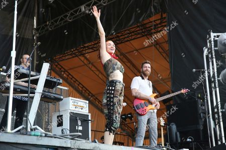 Mandy Lee, William Hehir. From left, artists Mandy Lee and William Hehir of MisterWives perform on the FedEx Stage at Beale Street Music Festival on in Memphis, Tenn