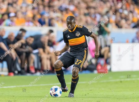 Houston Dynamo midfielder Oscar Garcia (27) during the second half of the match between the Houston Dynamo and the Los Angeles Galaxy on , at BBVA Compass Stadium in Houston, Texas. The Houston Dynamo beat The LA Galaxy in regular time 3-2