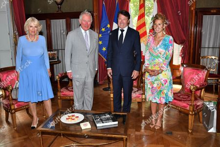 Prince Charles and Camilla Duchess of Cornwall with Christian Estrosi, Mayor of Nice, and Laura Tenoudji