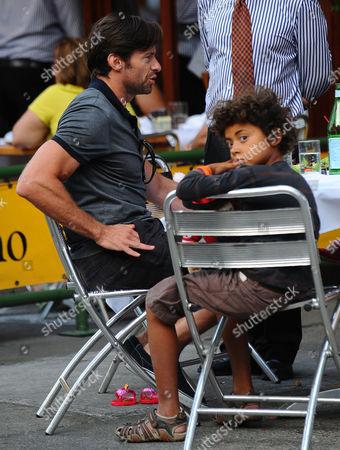 Hugh Jackman with son, Oscar Maximillian