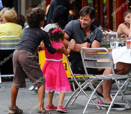 Hugh Jackman with son Oscar Maximillian, and daughter, Ava Eliot