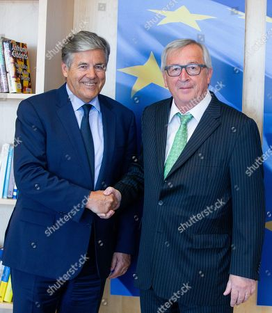 Stock Picture of Josef Ackermann and Jean-Claude Juncker
