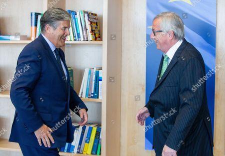 Stock Image of Josef Ackermann and Jean-Claude Juncker