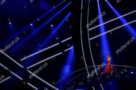 Presenter Silvia Alberto stands on a bridge leading to the stage in Lisbon, Portugal, during a dress rehearsal for the Eurovision Song Contest. The Eurovision Song Contest semifinals take place in Lisbon on Tuesday, May 8 and Thursday, May 10, the grand final on Saturday May 12, 2018