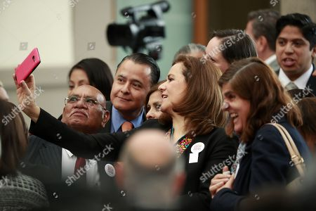 Mexican independent presidential candidate Margarita Zavala poses for pictures during the XVI National Tourism Forum in Mexico City, Mexico, 07 May 2018.