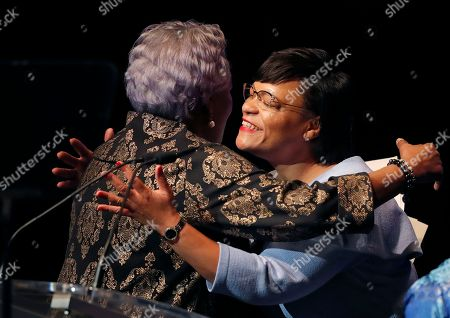 Latoya Cantrell, Donna Brazile. Newly elected New Orleans Mayor Latoya Cantrell, right, hugs master of ceremonies Donna Brazile after being sworn in at her inauguration in New Orleans, . Cantrell is the first woman to hold the job of New Orleans mayor since the city was founded 300 years ago