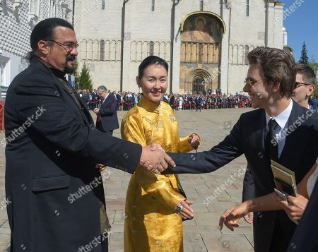 American actor Steven Seagal (left) before the ceremony