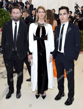Jack McCollough, Laura Dern, Lazaro Hernandez. Jack McCollough, from left, Laura Dern and Lazaro Hernandez attend The Metropolitan Museum of Art's Costume Institute benefit gala celebrating the opening of the Heavenly Bodies: Fashion and the Catholic Imagination exhibition, in New York