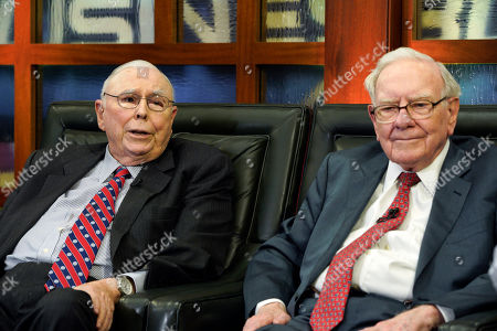 """Charlie Munger, Warren Buffett. Berkshire Hathaway Chairman and CEO Warren Buffett, right, and his Vice Chairman Charlie Munger, left, speak during an interview in Omaha, Neb., with Liz Claman on Fox Business Network's """"Countdown to the Closing Bell"""