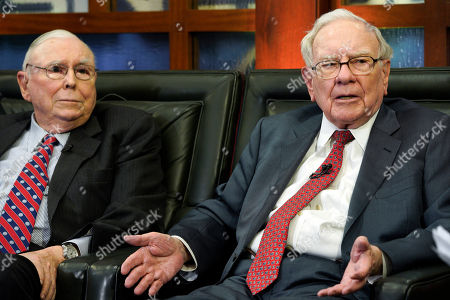 """Stock Picture of Charlie Munger, Warren Buffett. Berkshire Hathaway Chairman and CEO Warren Buffett, right, and his Vice Chairman Charlie Munger, left, speak during an interview in Omaha, Neb., with Liz Claman on Fox Business Network's """"Countdown to the Closing Bell"""