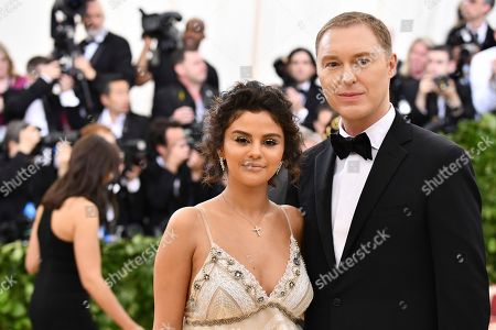 Selena Gomez, Stuart Vevers. Selena Gomez, left, and Stuart Vevers attend The Metropolitan Museum of Art's Costume Institute benefit gala celebrating the opening of the Heavenly Bodies: Fashion and the Catholic Imagination exhibition, in New York