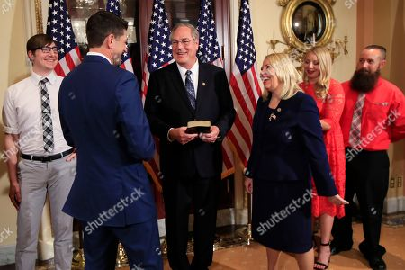 Paul Ryan, Debbie Lesko. Speaker of the House Paul Ryan of Wis., second from left, greets Arizona Republican Debbie Lesko, third from right, and her family, during a ceremonial swearing-in at the Capitol in Washington
