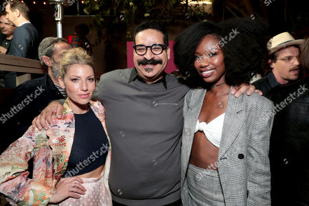 Ari Graynor, Erik Griffin and Xosha Roquemore pictured at I'M DYING UP HERE SEASON 2 Premiere celebration at Good Times at Davey Wayne's in Hollywood, CA.