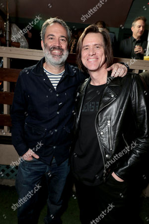Michael Aguilar, Executive Producer, and Jim Carrey, Executive Producer, pictured at I'M DYING UP HERE SEASON 2 Premiere celebration at Good Times at Davey Wayne's in Hollywood, CA.
