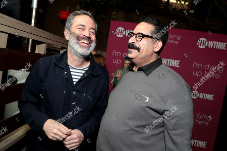 Michael Aguilar, Executive Producer, and Erik Griffin pictured at I'M DYING UP HERE SEASON 2 Premiere celebration at Good Times at Davey Wayne's in Hollywood, CA.