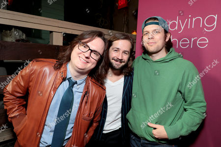 Clark Duke, Michael Angarano and Jake Lacy pictured at I'M DYING UP HERE SEASON 2 Premiere celebration at Good Times at Davey Wayne's in Hollywood, CA.