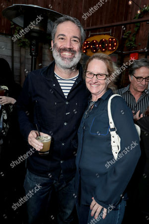 Michael Aguilar, Executive Producer, and Melissa Leo pictured at I'M DYING UP HERE SEASON 2 Premiere celebration at Good Times at Davey Wayne's in Hollywood, CA.