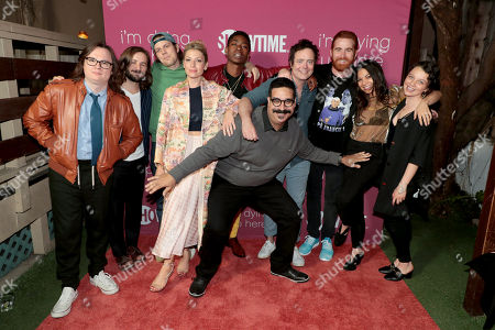 Clark Duke, Michael Angarano, Jake Lacy, Ari Graynor, RJ Cyler, Erik Griffin, Jon Daly, Andrew Santino, Ginger Gonzaga and Stefania LaVie Owen pictured at I'M DYING UP HERE SEASON 2 Premiere celebration at Good Times at Davey Wayne's in Hollywood, CA.
