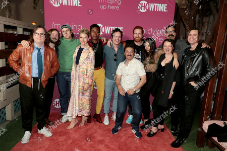 Clark Duke, Michael Angarano, Jake Lacy, Ari Graynor, RJ Cyler, Jon Daly, Al Madrigal, Andrew Santino, Ginger Gonzaga, Stefania LaVie Owen, Erik Griffin and Jim Carrey, Executive Producer, pictured at I'M DYING UP HERE SEASON 2 Premiere celebration at Good Times at Davey Wayne's in Hollywood, CA.