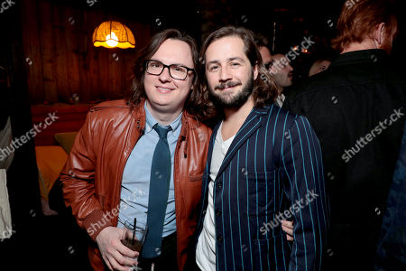 Clark Duke and Michael Angarano pictured at I'M DYING UP HERE SEASON 2 Premiere celebration at Good Times at Davey Wayne's in Hollywood, CA.