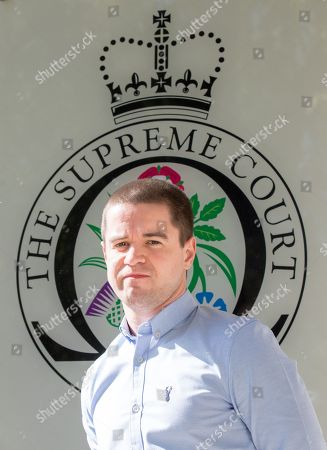 Sam Hallam arriving at the Supreme Court, where he is appealing for 'miscarriage of justice' compensation.