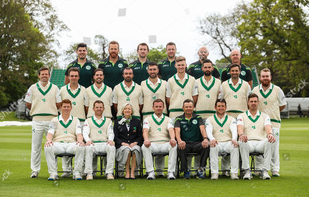 Stock Image of Pictured (L-R Second Row) Ed Joyce, Andrew McBrine, Tyrone Kane, Stuart Thompson, Andrew Balbirnie, Nathan Smith, James Shannon, Tim Murtagh and Paul Stirling. Pictured (L-R Front Row) Kevin O'Brien, Niall O'Brien, Cricket Ireland President Aideen Rice, William Porterfield, Head Coach Graham Ford, Gary Wilson and Boyd Rankin