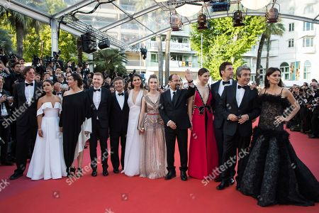 Alvaro Longoria, Inma Cuesta, Elvira Minguez, Alexandre Mallet-Guy, actors Eduard Fernandez, Carla Campra, Sara Salamo, Asghar Farhadi, Barbara Lennie, Javier Bardem, Ricardo Darin, Penelope Cruz. Producer Alvaro Longoria, Inma Cuesta, Elvira Minguez, producer Alexandre Mallet-Guy, actors Eduard Fernandez, Carla Campra, actress Sara Salamo, director Asghar Farhadi, Barbara Lennie, Javier Bardem, actor Ricardo Darin and actress Penelope Cruz pose for photographers upon arrival at the opening ceremony of the 71st international film festival, Cannes, southern France