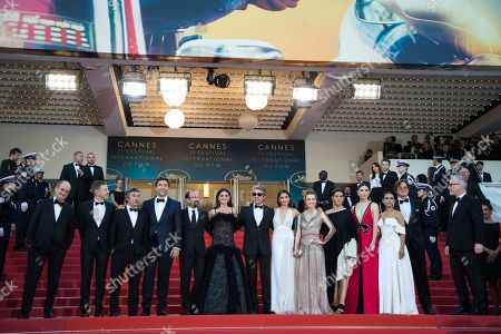 Pierre Lescure, Alexandre Mallet-Guy, Eduard Fernandez, Javier Bardem, Asghar Farhadi, Penelope Cruz, Ricardo Darin, Sara Salamo, Carla Campra, Elvira Minguez, Barbara Lennie, actress Sara Salamo, Inma Cuesta, Alvaro Longoria. Pierre Lescure, Alexandre Mallet-Guy, Eduard Fernandez, Javier Bardem, Asghar Farhadi, Penelope Cruz, Ricardo Darin, Sara Salamo, Carla Campra, Elvira Minguez, Barbara Lennie, actress Sara Salamo, Inma Cuesta and Alvaro Longoria pose for photographers upon arrival at the opening ceremony of the 71st international film festival, Cannes, southern France