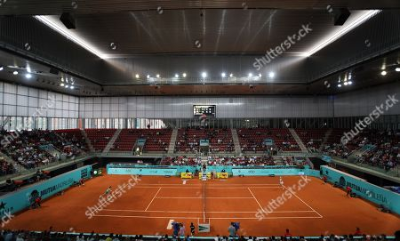 A general view of Court two, Arantxa Sanchez Vicario during the 2nd Round match in day four of the Mutua Madrid Open tennis tournament at the Caja Magica.