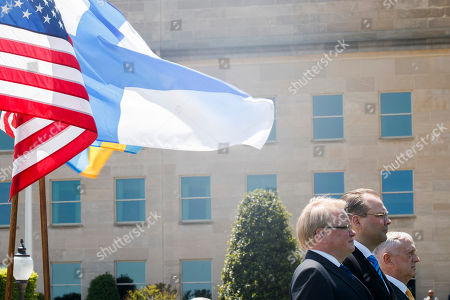 US Secretary of Defense Jim Mattis (R), Finland Defense Minister Jussi Niinisto (C) and Sweden Defense Minister Peter Hultqvist (L) participate in a full honors arrival ceremony at the Pentagon, USA, 08 May 2018. During a meeting the three defense ministers sign a trilateral defense cooperation agreement.