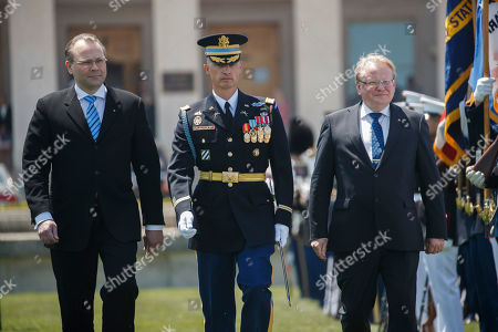 Finland Defense Minister Jussi Niinisto (L) and Sweden Defense Minister Peter Hultqvist (R) review the troops as they participate in a full honors arrival ceremony at the Pentagon, USA, 08 May 2018. During a meeting the three defense ministers sign a trilateral defense cooperation agreement.