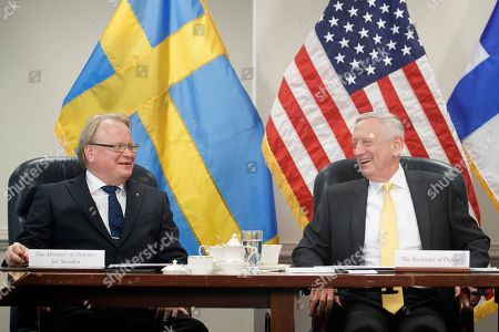 US Secretary of Defense Jim Mattis (R) and Sweden Defense Minister Peter Hultqvist (L) participate in a trilateral meeting at the Pentagon, USA, 08 May 2018. During the meeting the three defense ministers signed a trilateral defense cooperation agreement.