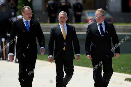 Jim Mattis, Jussi Niinist', Peter Hultqvist. Secretary of Defense Jim Mattis, center, with Finland's Minister of Defense Jussi Niinistö, left, and Sweden's Minister of Defense Peter Hultqvist, right, arrive for an Armed Forces full honor arrival and trilateral ceremony at the Pentagon