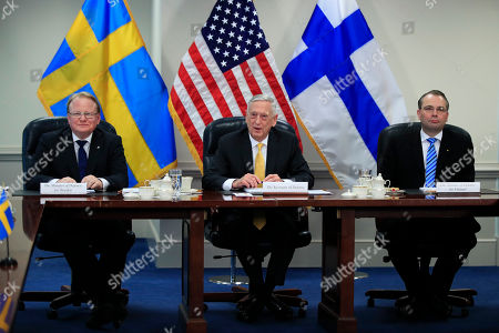 Jim Mattis, Jussi Niinist', Peter Hultqvist. Secretary of Defense Jim Mattis, center, with Sweden's Minister of Defense Peter Hultqvist, left, and Finland's Minister of Defense Jussi Niinistö speaks during a trilateral meeting at the Pentagon