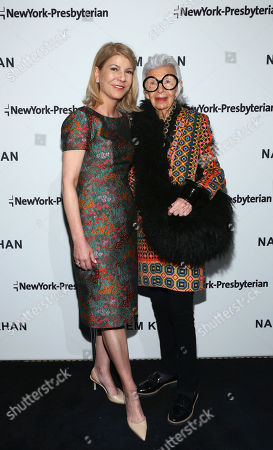 Laura Forese, M.D., Executive Vice President and Chief Operating Officer of NewYork-Presbyterian, left, and fashion icon Iris Apfel, right, are pictured together at the NewYork-Presbyterian/Weill Cornell Medical Center Lying-In Luncheon featuring the latest Fall/Winter 2018 Ready-to-Wear collection from Naeem Khan, in New York, to benefit the Department of Obstetrics and Gynecology
