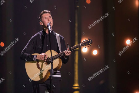 Stock Image of Ryan O' Shaughnessy from Ireland is performing his song 'Together'